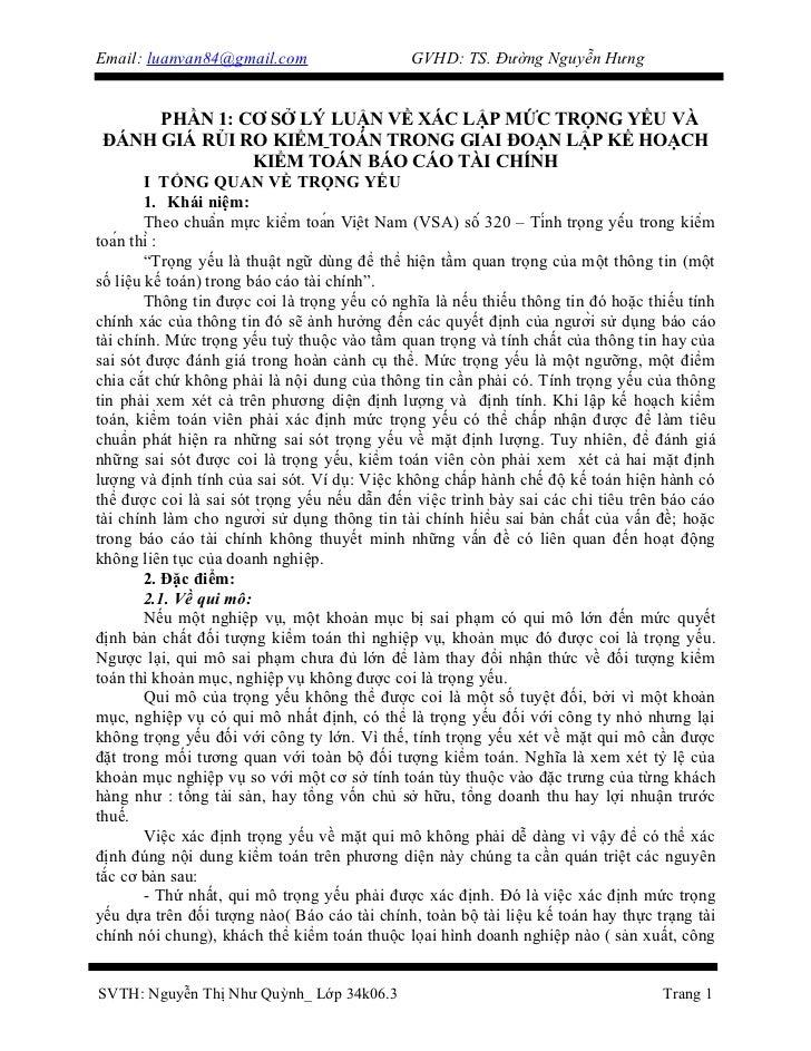XÁC LẬP MỨC TRỌNG YẾU VÀ ĐÁNH GIÁ RỦI RO KIỂM TOÁN TRONG GIAI ĐOẠN LẬP KẾ HOẠCH KIỂM TOÁN BÁO CÁO TÀI CHÍNH
