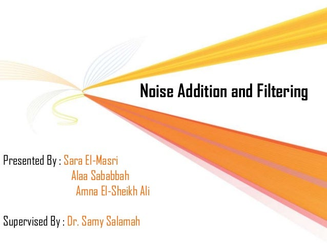 Noise Addition and Filtering  `  Presented By : Sara El-Masri Alaa Sababbah Amna El-Sheikh Ali Supervised By : Dr. Samy Sa...