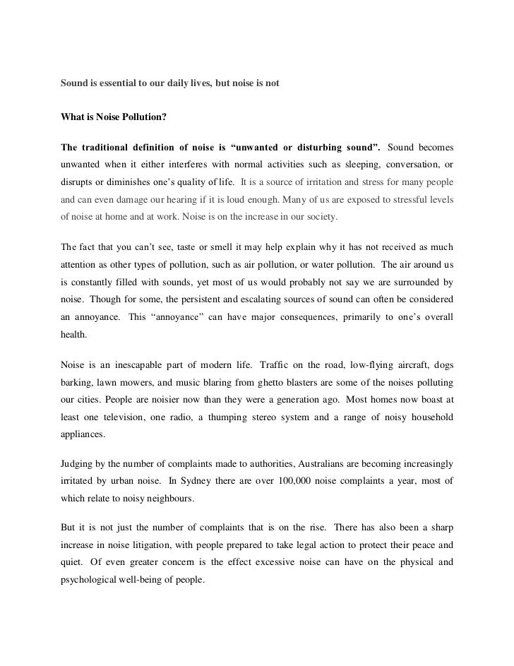 Noise pollution essay in english pdf