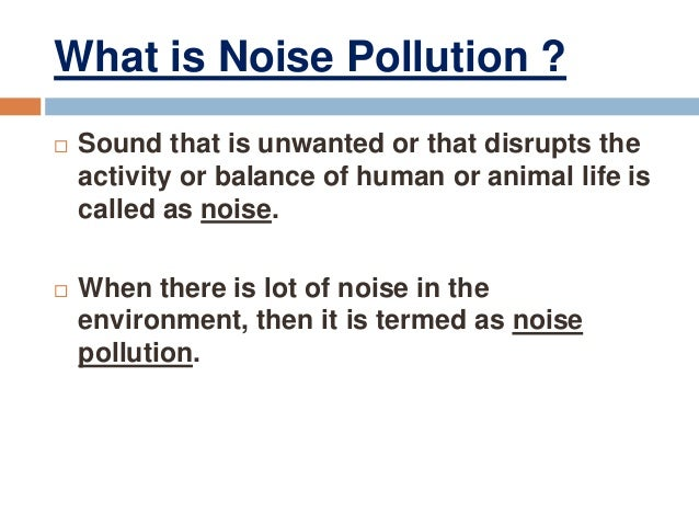 Noise pollution essay in english