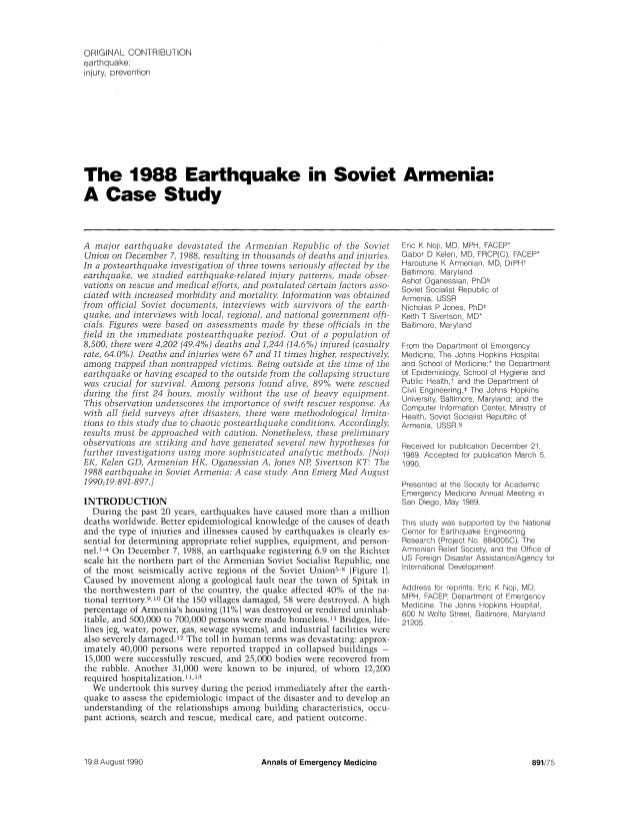 ORIGINAL CONTRIBUTIONearthquake;injury, preventionThe 1988 Earthquake in Soviet Armenia:A Case StudyA major earthquake dev...