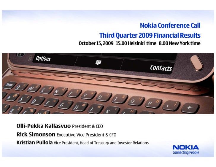 Q3 2009 Earning Report of Nokia