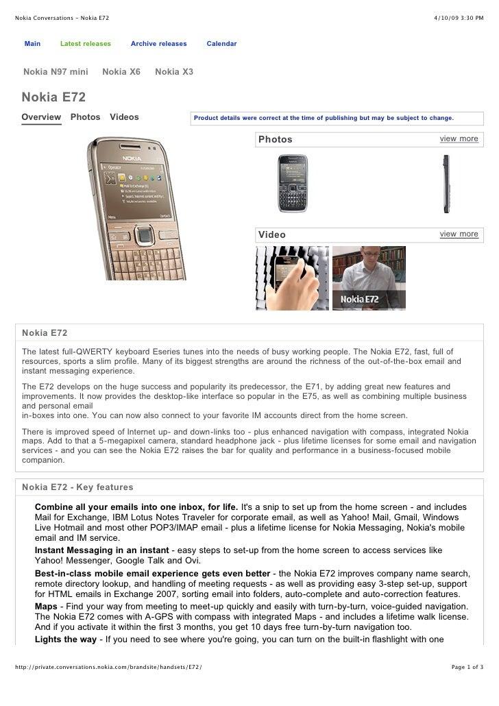 Nokia Conversations - Nokia E72                                                                                           ...