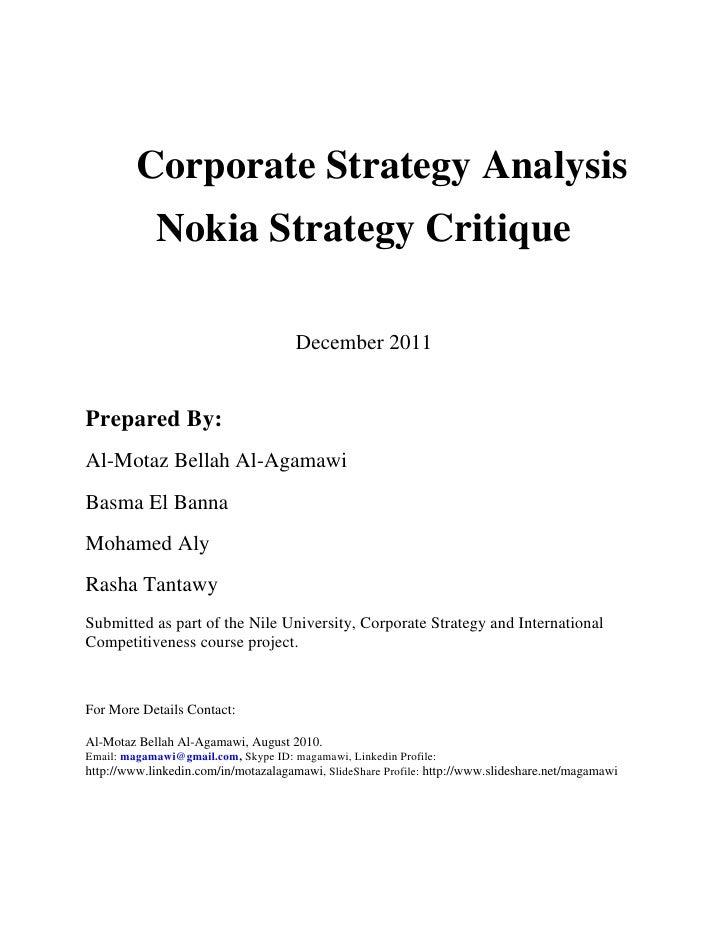 Nokia Corporate Strategy Critique