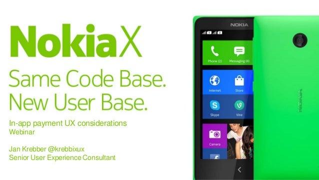 In-app payment UX considerations Webinar Jan Krebber @krebbixux Senior User Experience Consultant