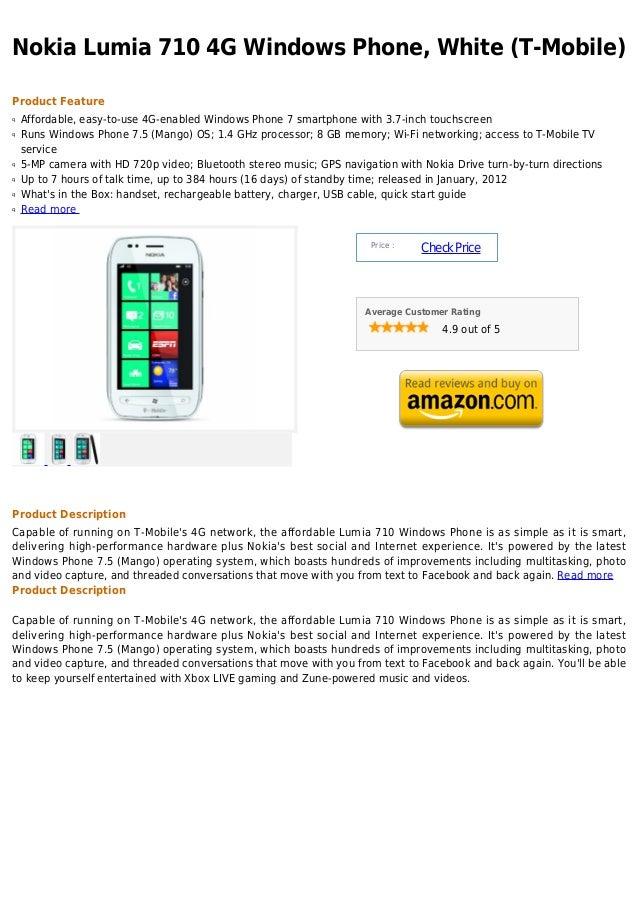 Nokia lumia 710 4 g windows phone, white (t mobile)