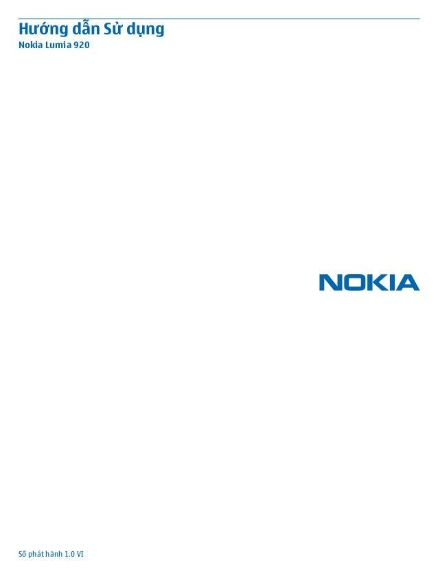 Hướng dẫn Sử dụngNokia Lumia 920Số phát hành 1.0 VI