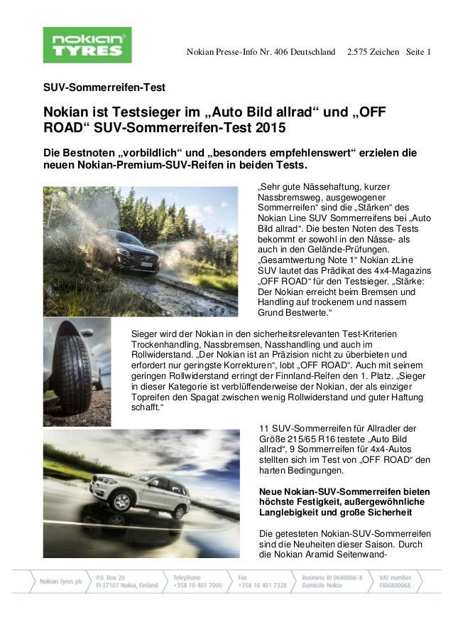 """Nokian Presse-Info Nr. 406 Deutschland 2.575 Zeichen Seite 1 SUV-Sommerreifen-Test Nokian ist Testsieger im """"Auto Bild all..."""