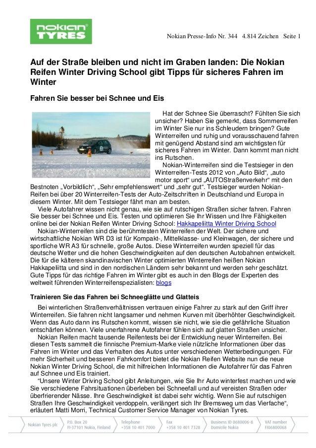 Nokian Presse-Info Nr. 344 4.814 Zeichen Seite 1  Auf der Straße bleiben und nicht im Graben landen: Die Nokian Reifen Win...