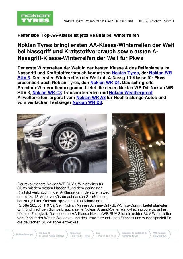 Nokian Tyres Presse-Info Nr. 415 Deutschland 10.132 Zeichen Seite 1 Reifenlabel Top-AA-Klasse ist jetzt Realität bei Winte...