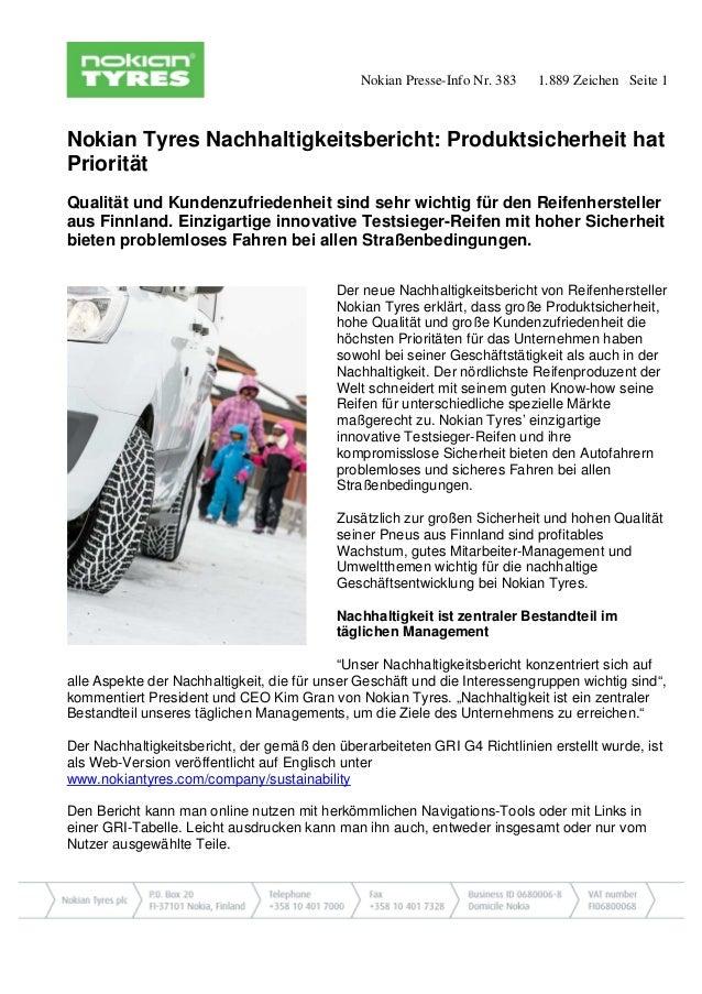 Nokian Presse-Info Nr. 383 1.889 Zeichen Seite 1  Nokian Tyres Nachhaltigkeitsbericht: Produktsicherheit hat Priorität  Qu...