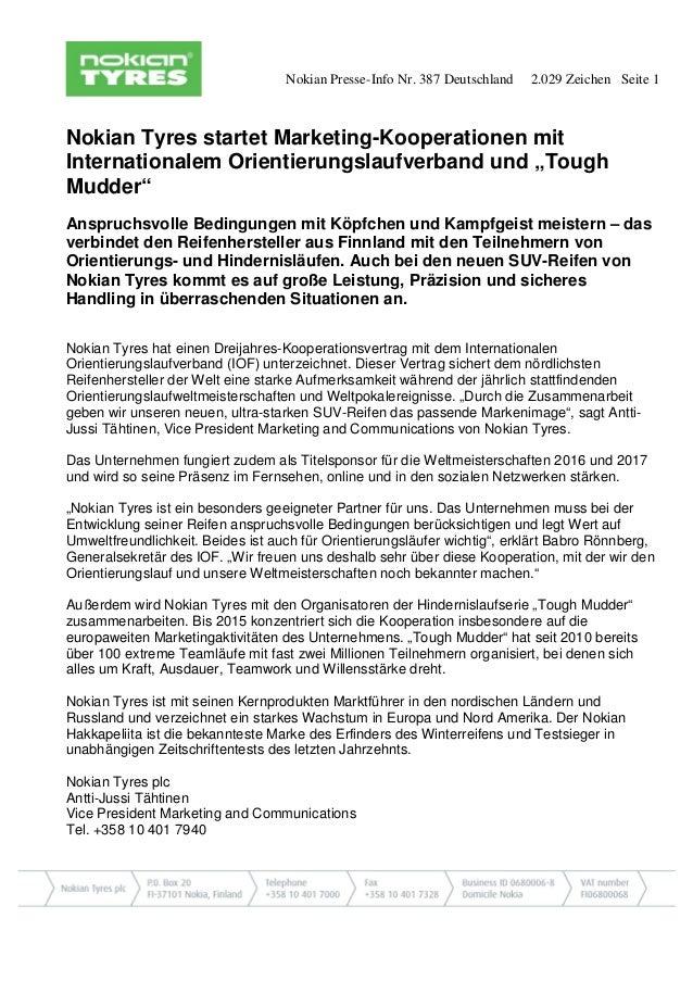 Nokian Presse-Info Nr. 387 Deutschland 2.029 Zeichen Seite 1  Nokian Tyres startet Marketing-Kooperationen mit Internation...