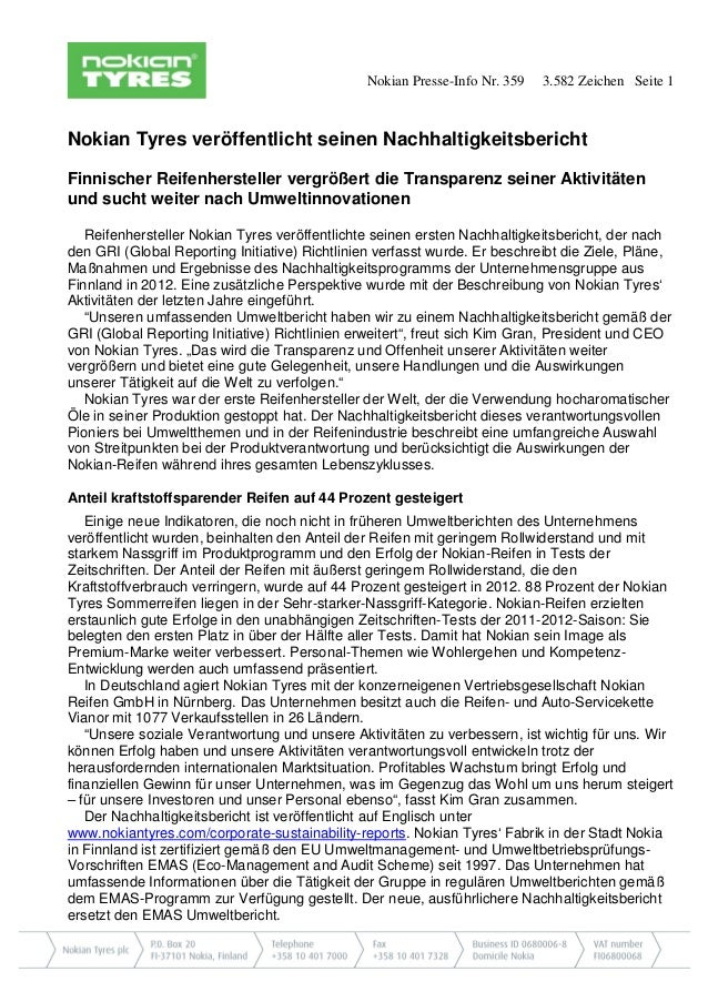Nokian Presse-Info Nr. 359  3.582 Zeichen Seite 1  Nokian Tyres veröffentlicht seinen Nachhaltigkeitsbericht Finnischer Re...