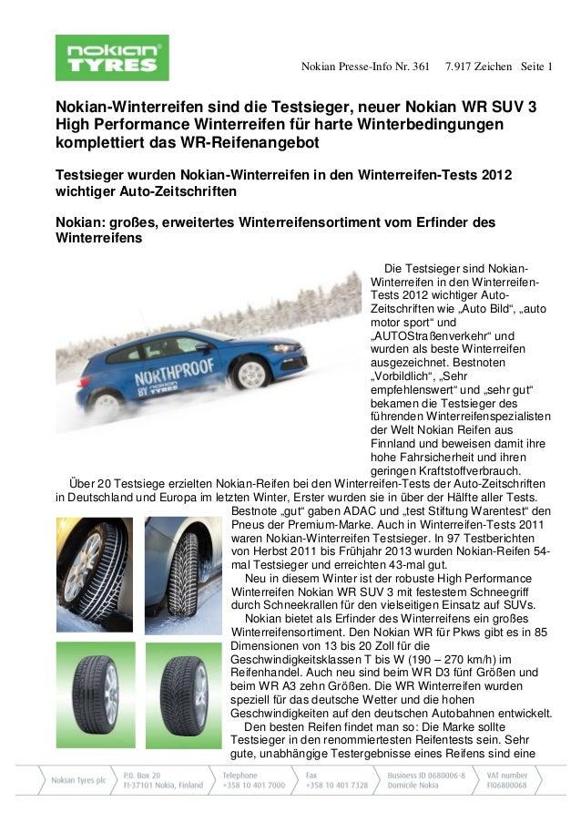 Nokian Presse-Info Nr. 361  7.917 Zeichen Seite 1  Nokian-Winterreifen sind die Testsieger, neuer Nokian WR SUV 3 High Per...