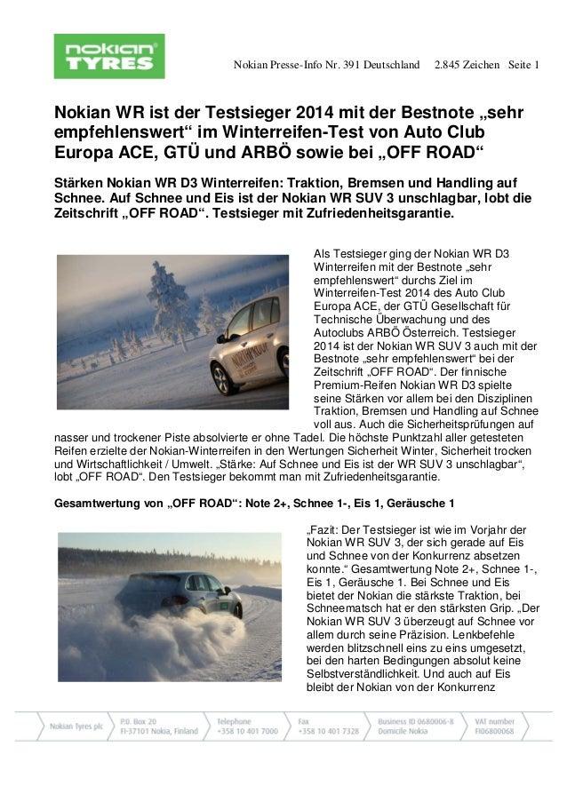 """Nokian Presse-Info Nr. 391 Deutschland 2.845 Zeichen Seite 1  Nokian WR ist der Testsieger 2014 mit der Bestnote """"sehr emp..."""