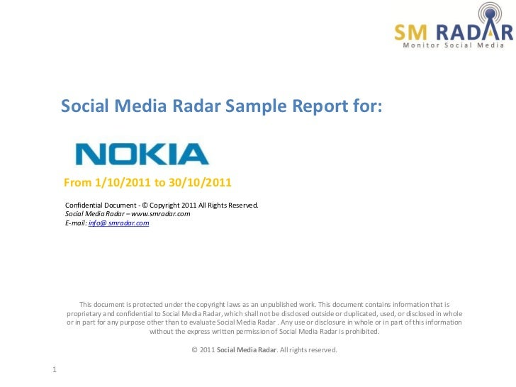 Social Media Radar Sample Report for:    From 1/10/2011 to 30/10/2011    Confidential Document - © Copyright 2011 All Righ...
