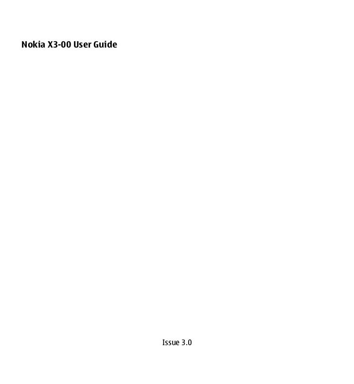 Nokia X3-00 User Guide                         Issue 3.0