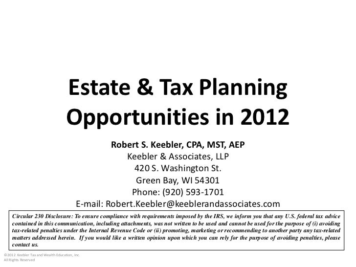 Bob Keebler Sample Presentation - Income & Estate Tax Strategies For THe New Year