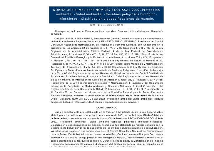 NORMANOM-087-ECOL-SSA1-2002 Residuos Biológico-Infecciosos          Oficial Mexicana NOM-087-ECOL-SSA1-2002, Protección   ...