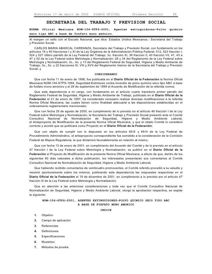 Miércoles 17 de abril de 2002                DIARIO OFICIAL              (Primera Sección)              99              SE...