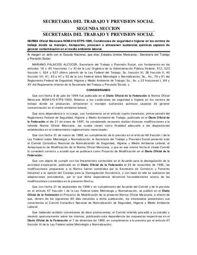 SECRETARIA DEL TRABAJO Y PREVISION SOCIAL SEGUNDA SECCION SECRETARIA DEL TRABAJO Y PREVISION SOCIAL NORMA Oficial Mexicana...