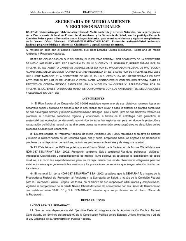 Miércoles 14 de septiembre de 2005 DIARIO OFICIAL (Primera Sección) 9 SECRETARIA DE MEDIO AMBIENTE Y RECURSOS NATURALES BA...