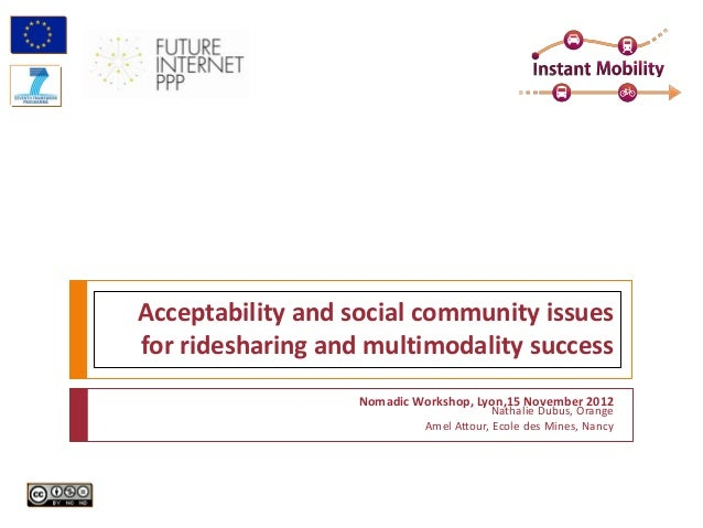 Acceptability and social community issuesfor ridesharing and multimodality success                   Nomadic Workshop, Lyo...