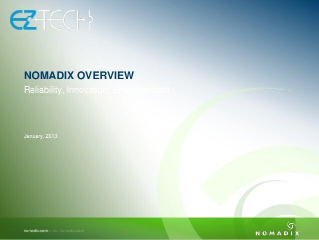 0 Nomadix, Inc. nomadix.comnomadix.com January, 2013 Reliability, Innovation, Empowerment NOMADIX OVERVIEW