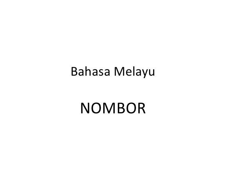 Bahasa Melayu NOMBOR