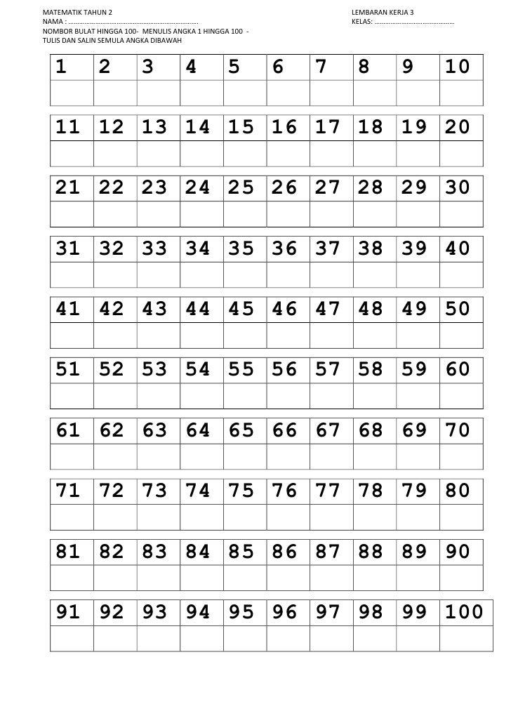 Tracing Numbers 1 100 Worksheets Nombor 1 100 Trace Line