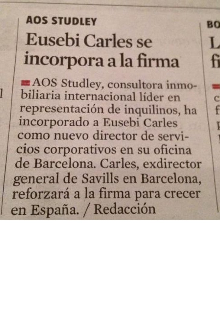 Nombramiento Eusebi Carles @ AOS Studley - La Vanguardia - 13.04.2012