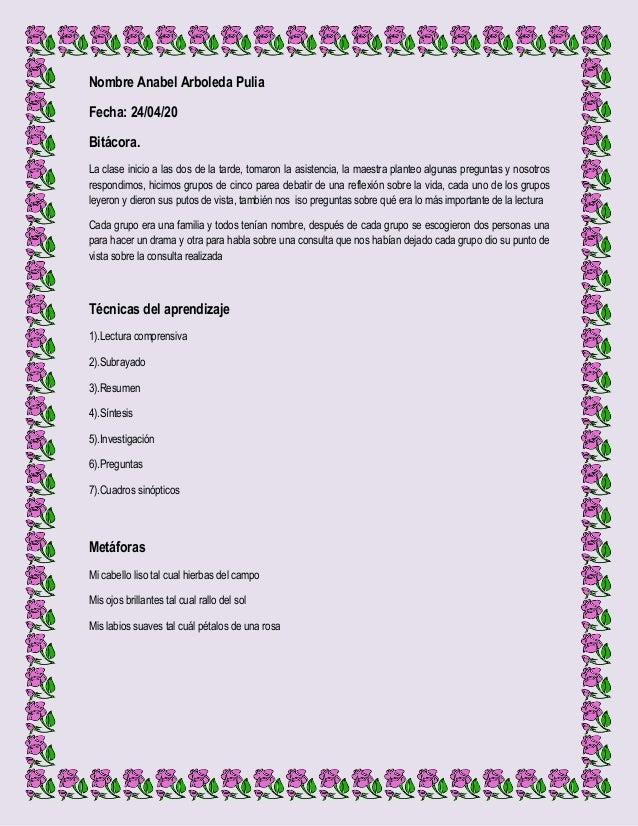 Nombre Anabel Arboleda PuliaFecha: 24/04/20Bitácora.La clase inicio a las dos de la tarde, tomaron la asistencia, la maest...