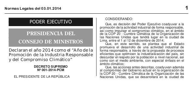 """1  Normas Legales del 03.01.2014  PODER EJECUTIVO PRESIDENCIA DEL CONSEJO DE MINISTROS Declaran el año 2014 como el """"Año d..."""
