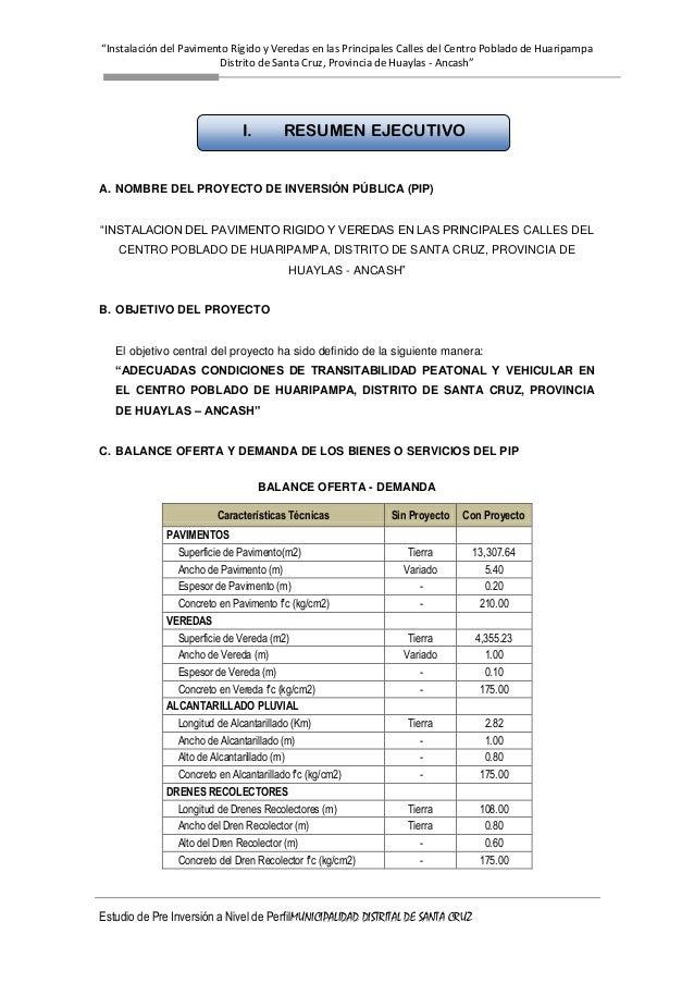 """""""Instalación del Pavimento Rígido y Veredas en las Principales Calles del Centro Poblado de Huaripampa Distrito de Santa C..."""