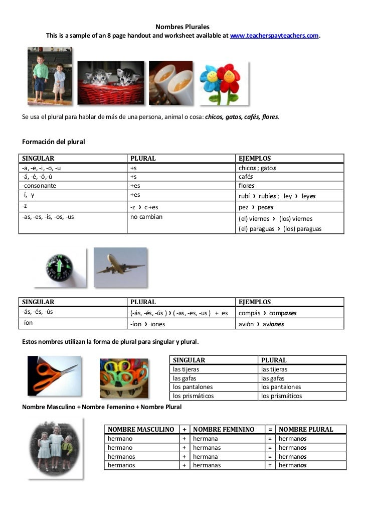 Nombres Plurales           This is a sample of an 8 page handout and worksheet available at www.teacherspayteachers.com.Se...