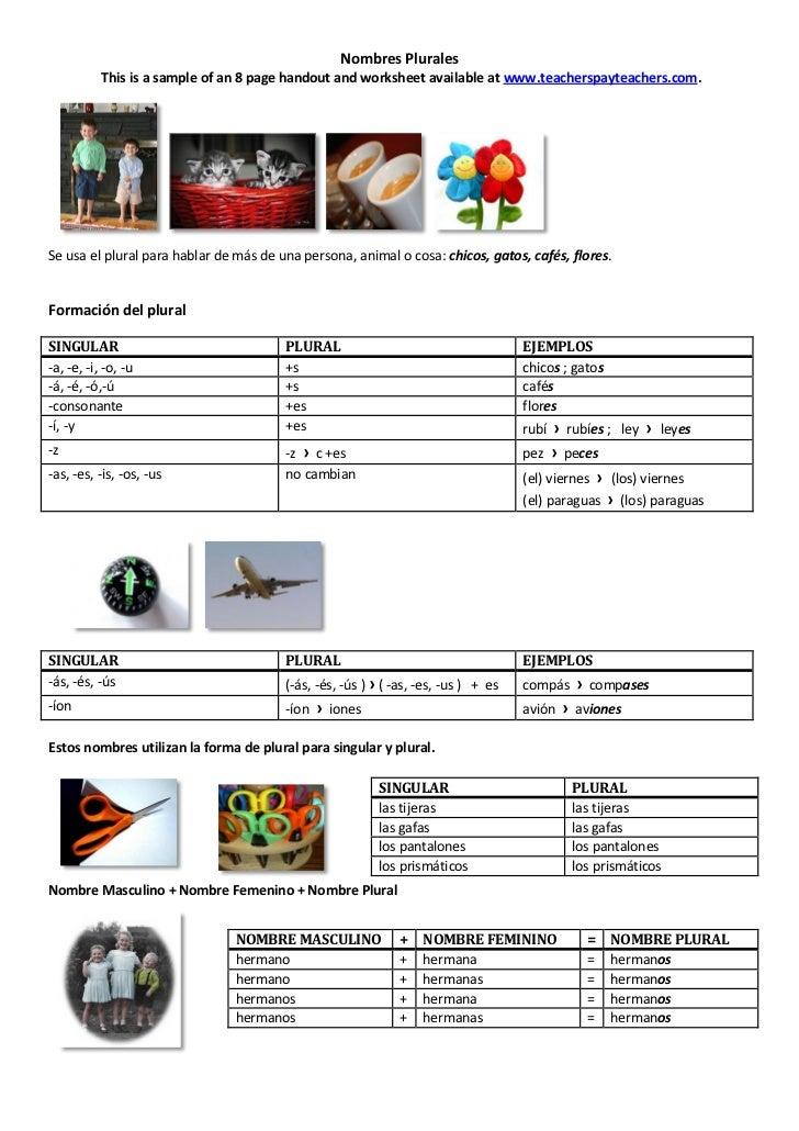 Nombres plurales (Spanish Plural Nouns)