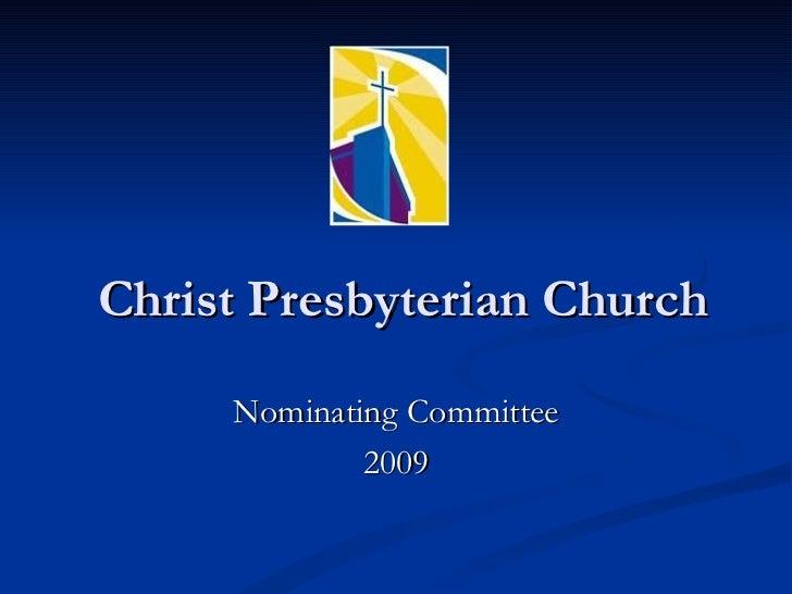 Christ Presbyterian Nom. Com Meeting