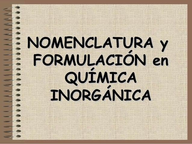 Formulas Quimicas Inorganicas en Química Inorgánica