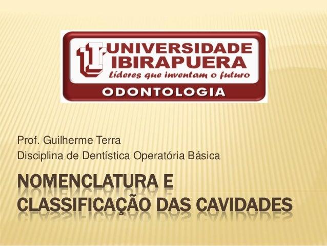 NOMENCLATURA E CLASSIFICAÇÃO DAS CAVIDADES Prof. Guilherme Terra Disciplina de Dentística Operatória Básica