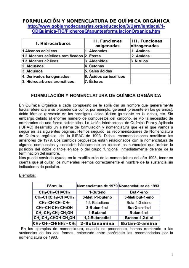 1 FORMULACIÓN Y NOMENCLATURA DE QUÍMICA ORGÁNICA http://www.gobiernodecanarias.org/educacion/3/Usrn/lentiscal/1- CDQuimica...