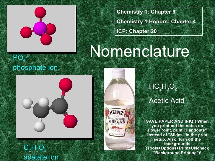 Nomenclature PO 4 3- phosphate ion C 2 H 3 O 2 - acetate ion HC 2 H 3 O 2 Acetic Acid Chemistry 1: Chapter 9 Chemistry 1 H...