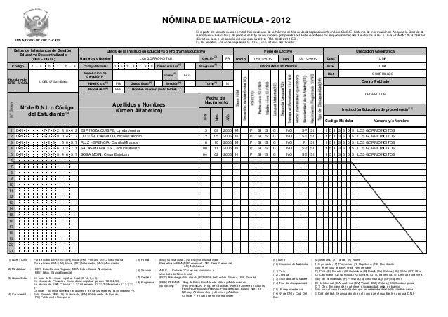 NÓMINA DE MATRÍCULA - 2012                                                                                                ...