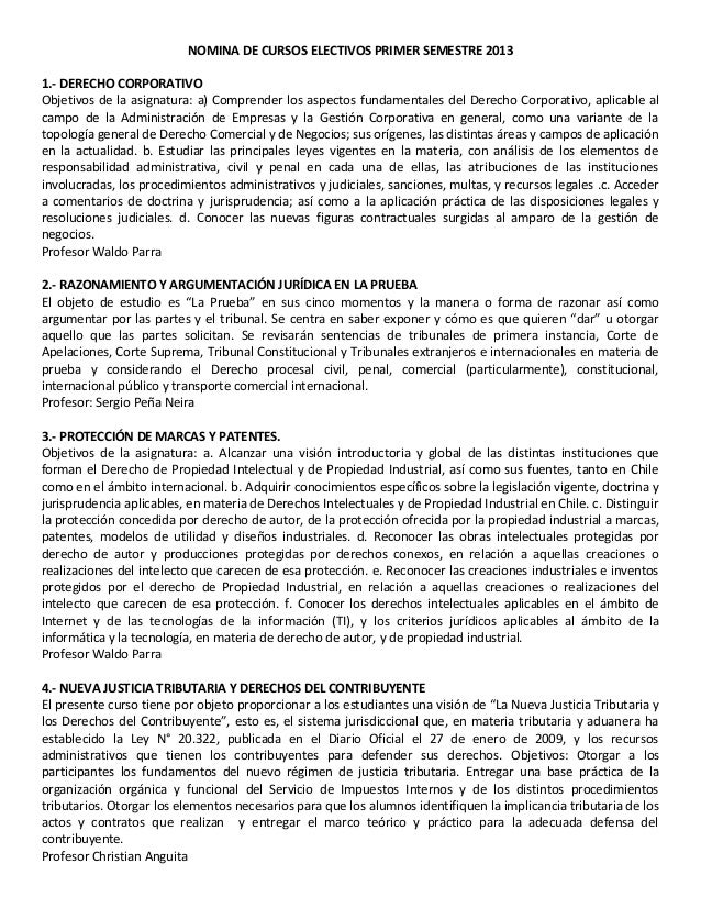 NOMINA DE CURSOS ELECTIVOS PRIMER SEMESTRE 20131.- DERECHO CORPORATIVOObjetivos de la asignatura: a) Comprender los aspect...