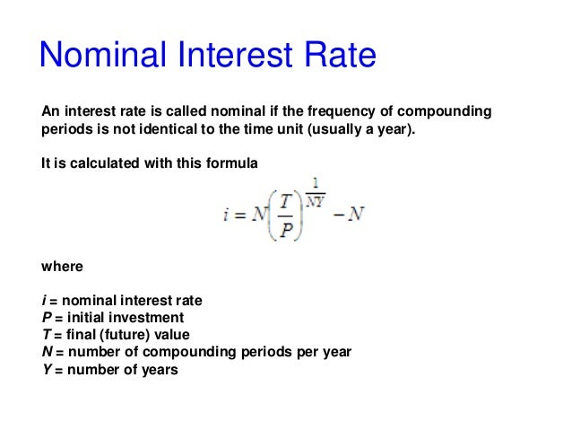 interest rate formula nominal and effective interest rate with matlab