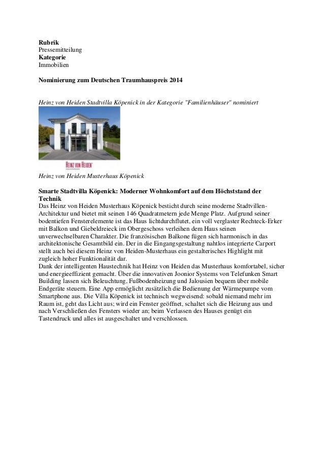 Rubrik Pressemitteilung Kategorie Immobilien Nominierung zum Deutschen Traumhauspreis 2014  Heinz von Heiden Stadtvilla Kö...