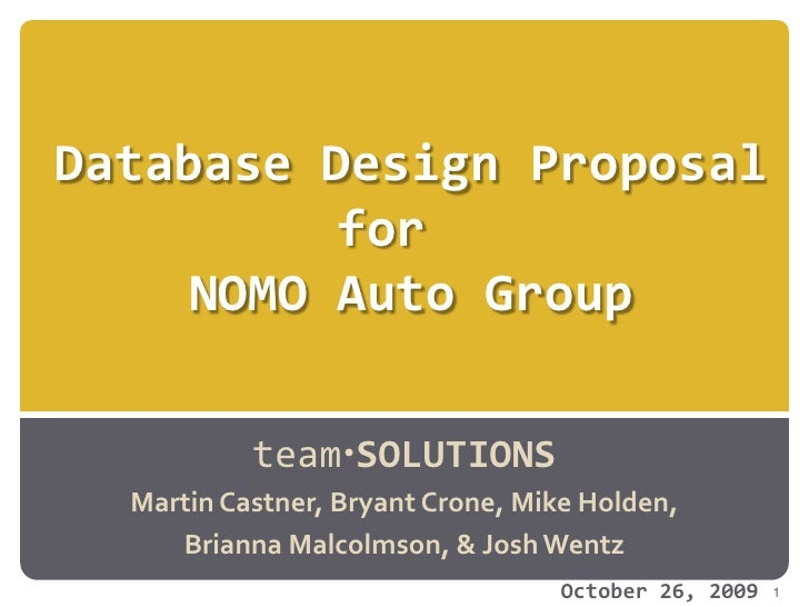 Nomo1 Database Proposal Final