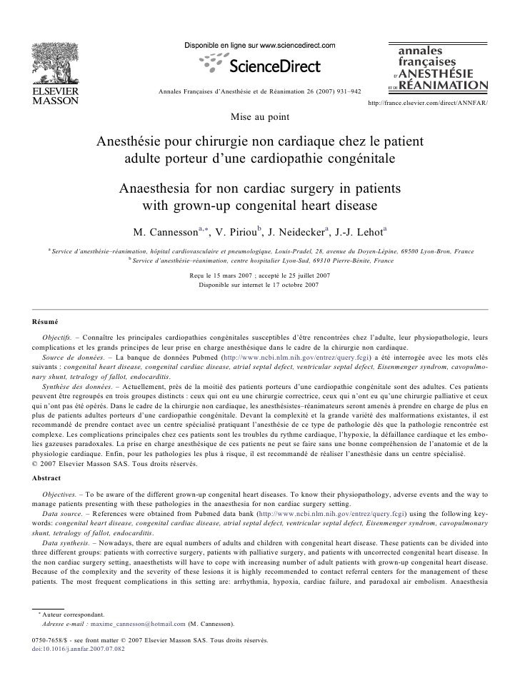 Non Cardiac Surgery For Adults With Congenital Heart