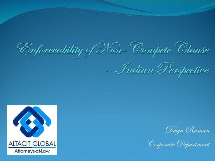 Non compete applicability in india