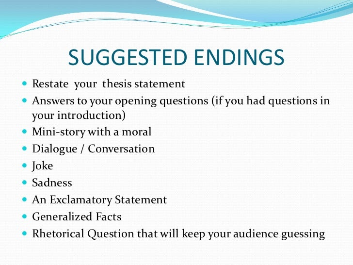 Good endings to essays