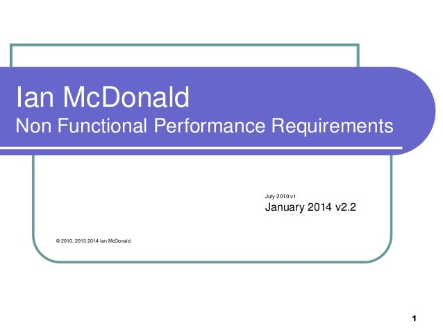 Non functional performance requirements v2.2